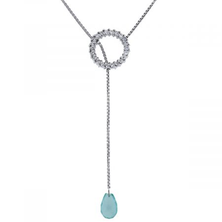 Barry Kronen 18kt Diamond Circle & Aquamarine Lariat Necklace