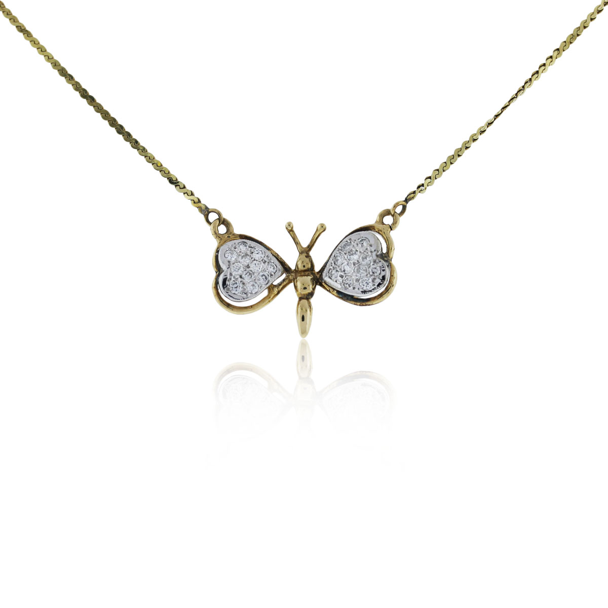 14k yellow gold and butterfly pendant necklace
