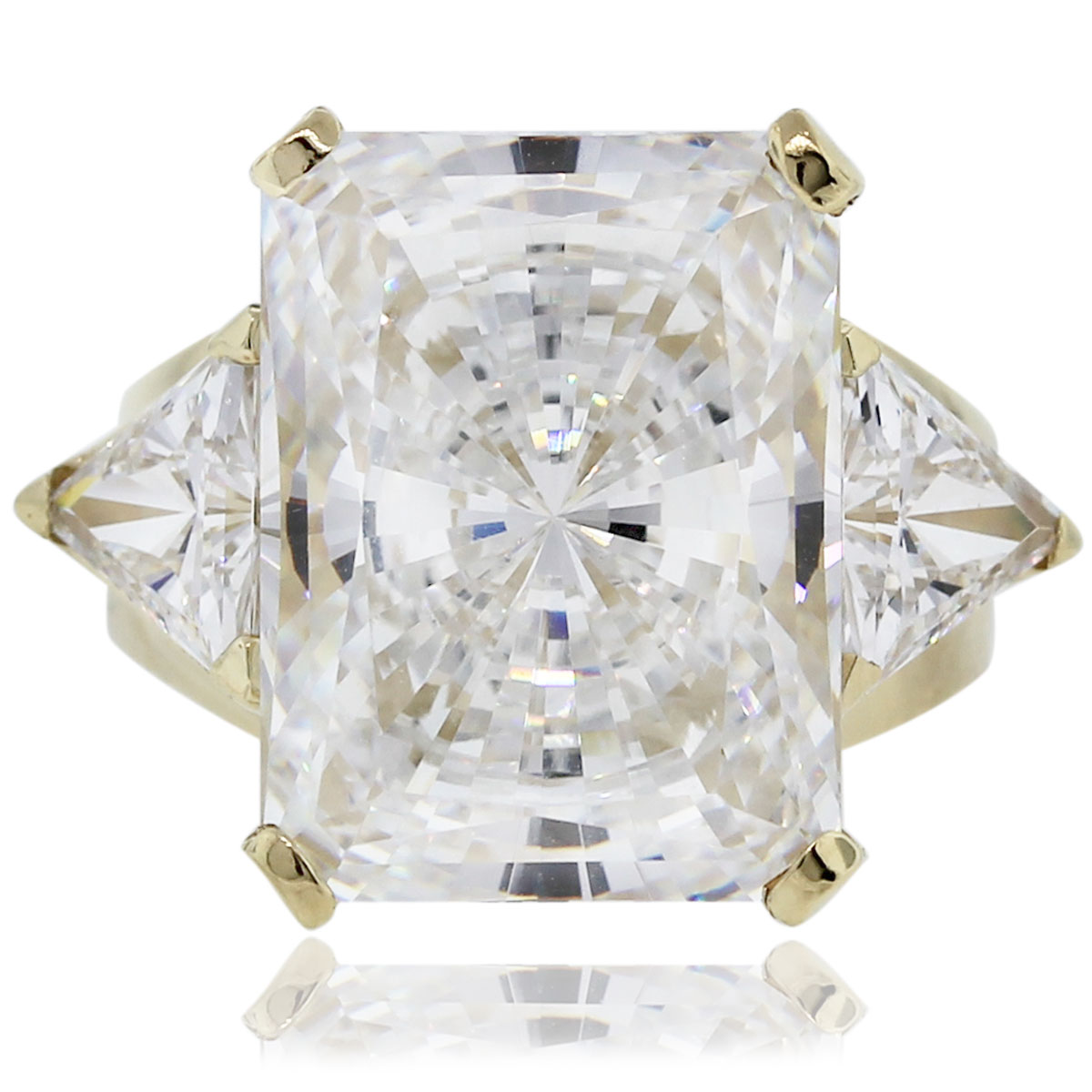 14kt Yellow Gold Radiant & Trillion Cut Cubic Zirconia Ring