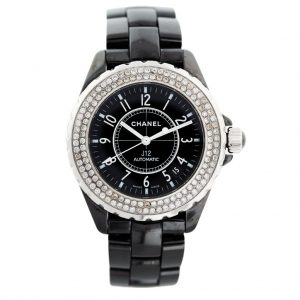 Chanel J12 Black Ceramic Diamond Bezelwatch for ladies