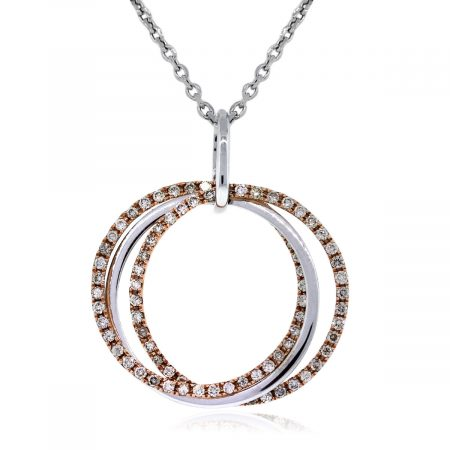 Two Tone Gold Necklace with Diamonds