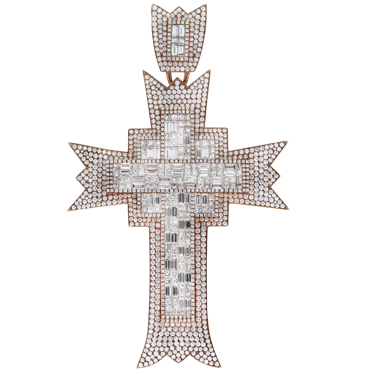 18k Rose Gold Round Diamond/Baguette Custom Diamond Cross Pendant