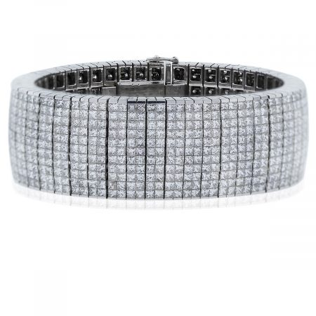 18k White Gold 100ctw Princess Cut Diamond Tennis Bracelet