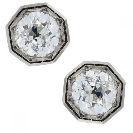 Vintage Round Brilliant Diamond Stud Earrings