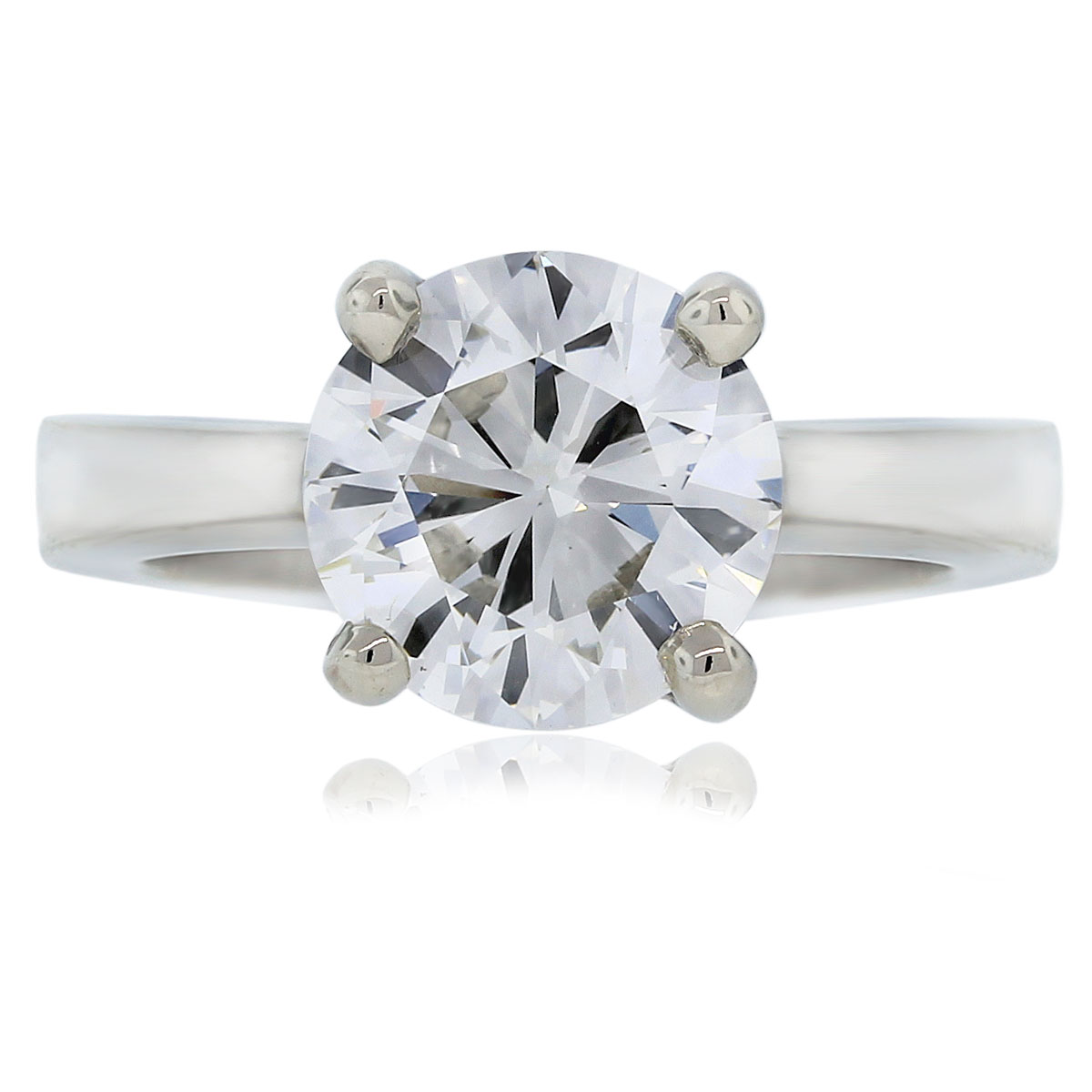 14k White Gold 3.01ct Round Brilliant Solitaire Engagement Ring