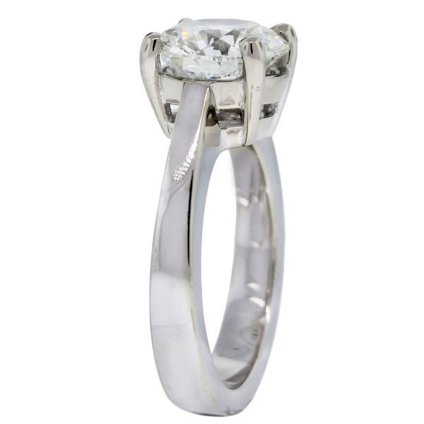14k White Gold 3.01ct Round Brilliant Solitaire Engagement Ring side