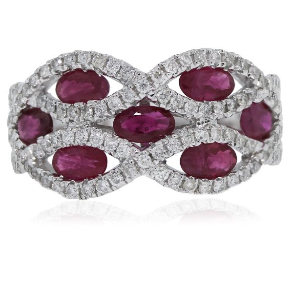 14kt White Gold Oval Cut Ruby and Round Cut Diamond Wide Band Ring