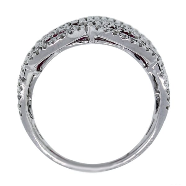 14kt White Gold Oval Cut Ruby and Round Cut Diamond Wide Band Ring top