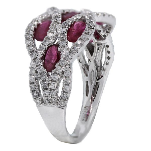 14kt White Gold Oval Cut Ruby and Round Cut Diamond Wide Band Ring side
