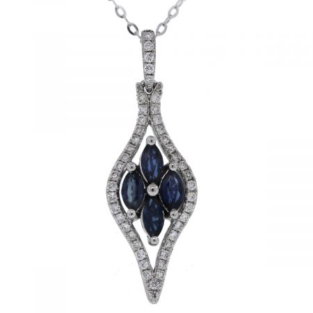 14kt White gold Diamond and Sapphire Flower Pendant on Chain