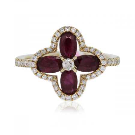 14kt Yellow Gold Ruby Flower & Diamond Ring