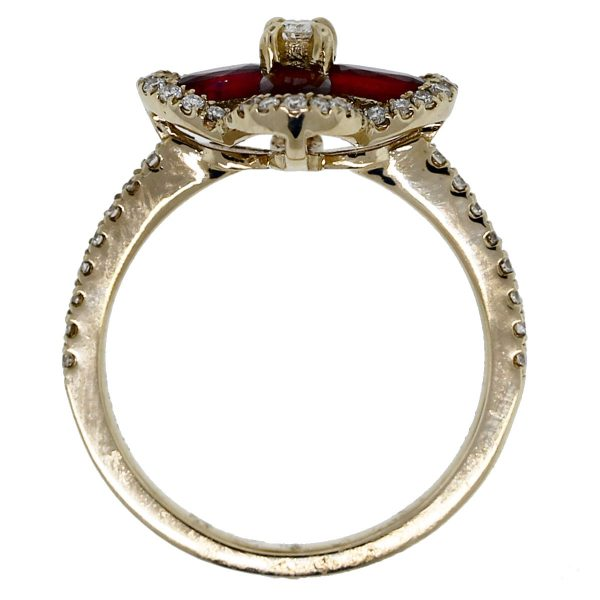 14kt Yellow Gold Ruby Flower & Diamond Ring top