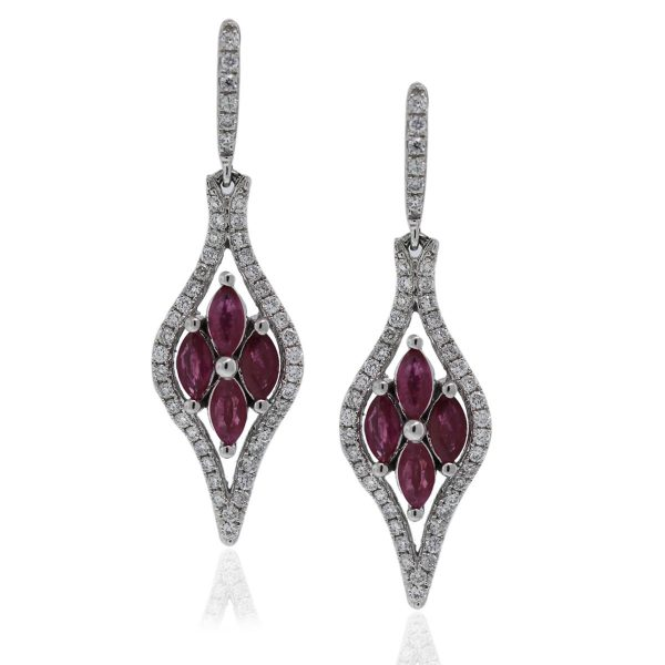 14kt White Gold Diamond and Ruby Flower Drop Earrings