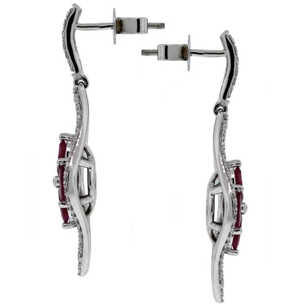 14kt White Gold Diamond and Ruby Flower Drop Earrings side