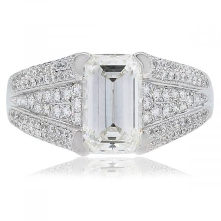 Platinum Emerald Cut Diamond Engagement Ring with Accents