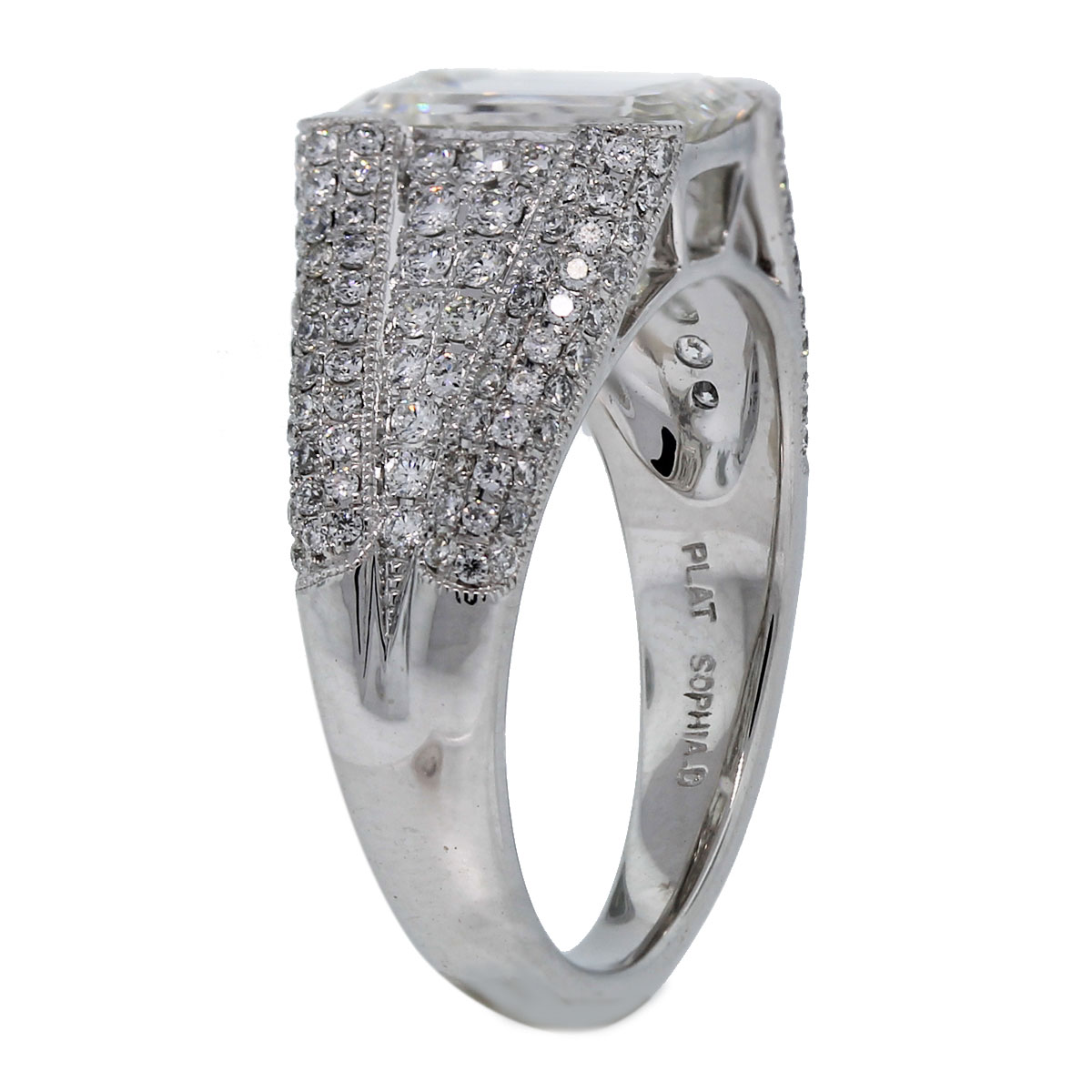 Platinum Emerald Cut Diamond Engagement Ring With Accents Side