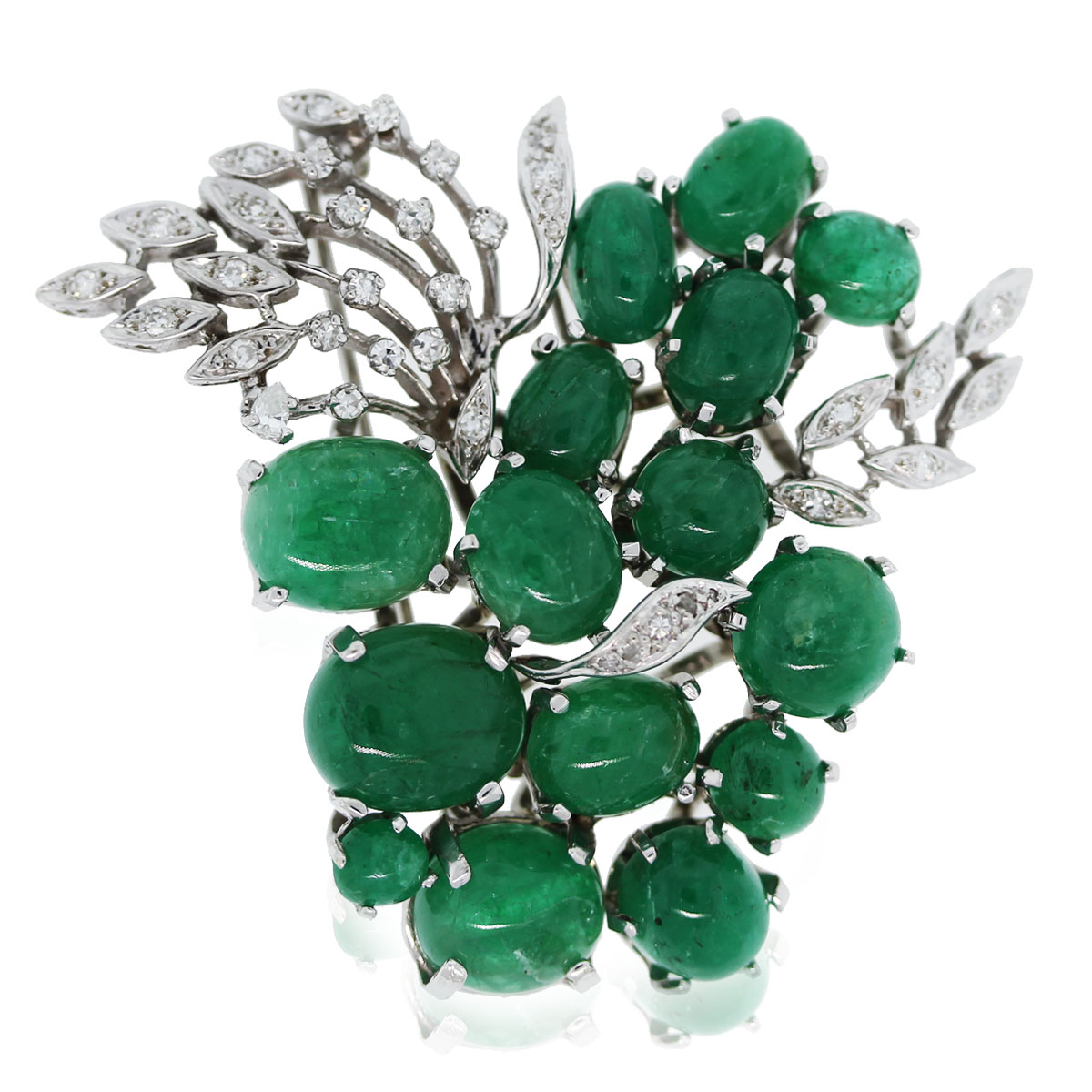14k White Gold Cabochon Emerald & Diamond Pin