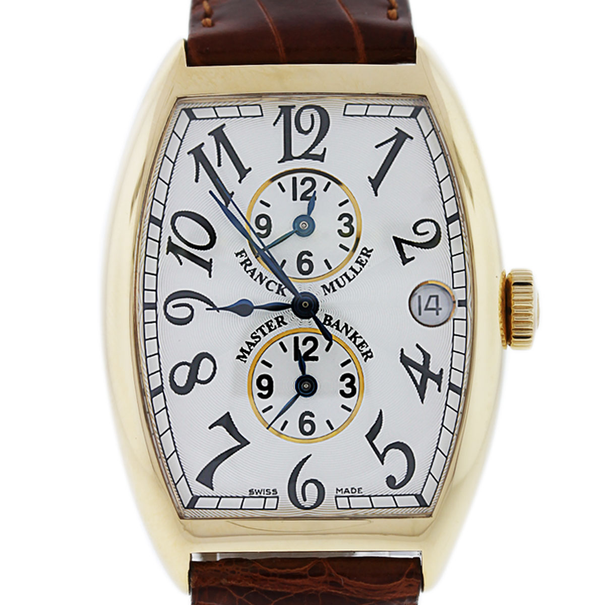 Franck muller master banker 6850mb yellow gold watch on leather for Franck muller watches