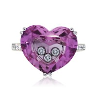 Chopard So Happy White Gold Heart Shaped Pink Floating Diamond Ring