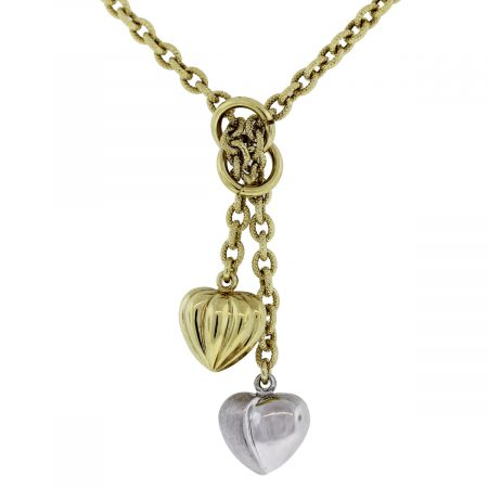 14kt Two Tone Dangle Hearts Lariat Necklace