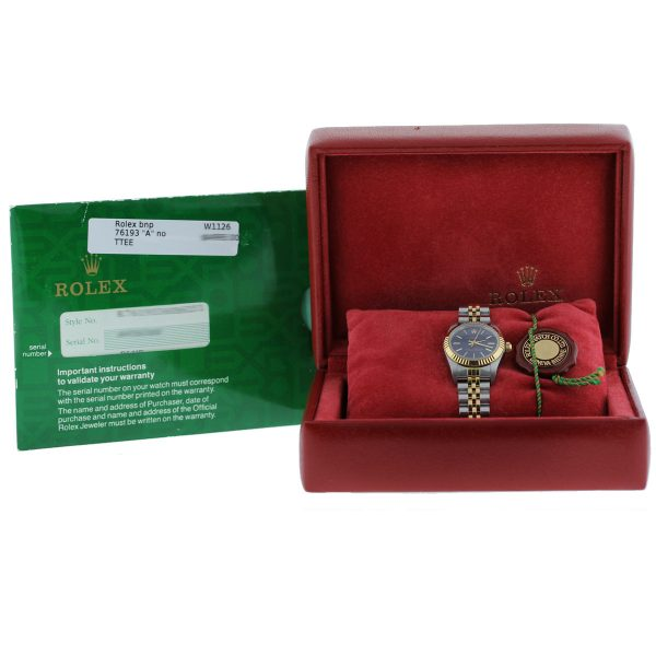Rolex 76193 Non Date Oyster Perpetual Blue Dial Two Tone Ladies Watch Box and Papers