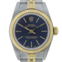 Rolex 76193 Non Date Oyster Perpetual Blue Dial Two Tone Ladies Watch