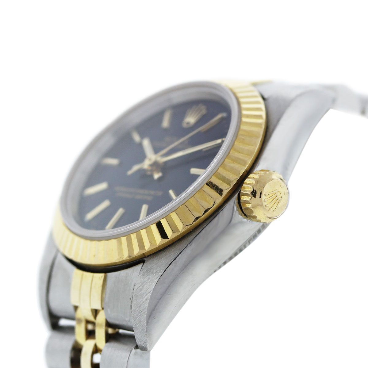 Rolex 76193 Non Date Oyster Perpetual Blue Dial Two Tone Ladies Watch Crown