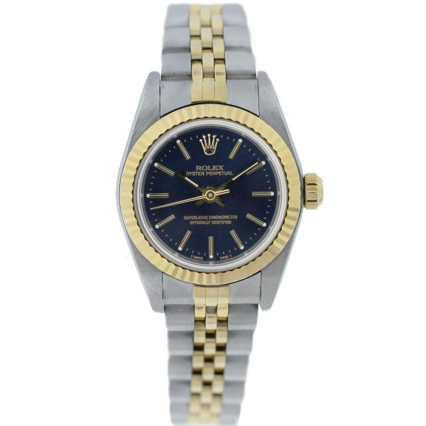Rolex 76193 Non Date Oyster Perpetual Blue Dial Two Tone Ladies Watch Full