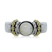 Lagos Caviar Sterling Silver and 18k Yellow Gold Pearl Ring