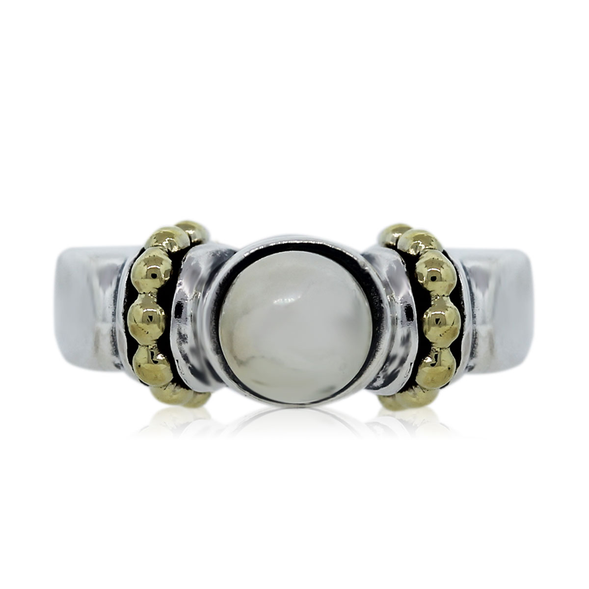 Lagos Caviar Gold and Sterling Silver Pearl Ring