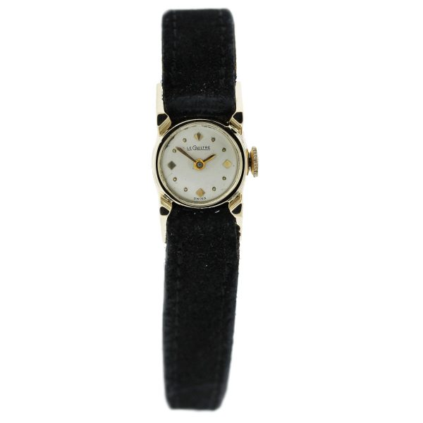 Vintage 14kt Le Coultre Champagne Dial Ladies Watch full