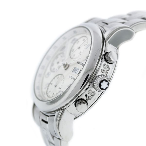 Mont Blanc Meisterstruck 7016 Stainless Steel Chronograph Watch crown