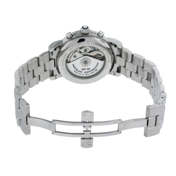 Mont Blanc Meisterstruck 7016 Stainless Steel Chronograph Watch open clasp