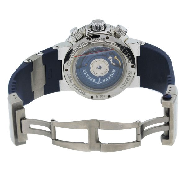 Limited Edition Ulysse Nardin Maxi Marine Blue Seal Chronograph Watch open clasp