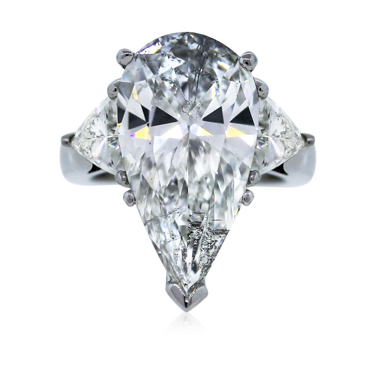 Platinum EGL Certified 4.65ct Pear Shaped Engagement Ring ...