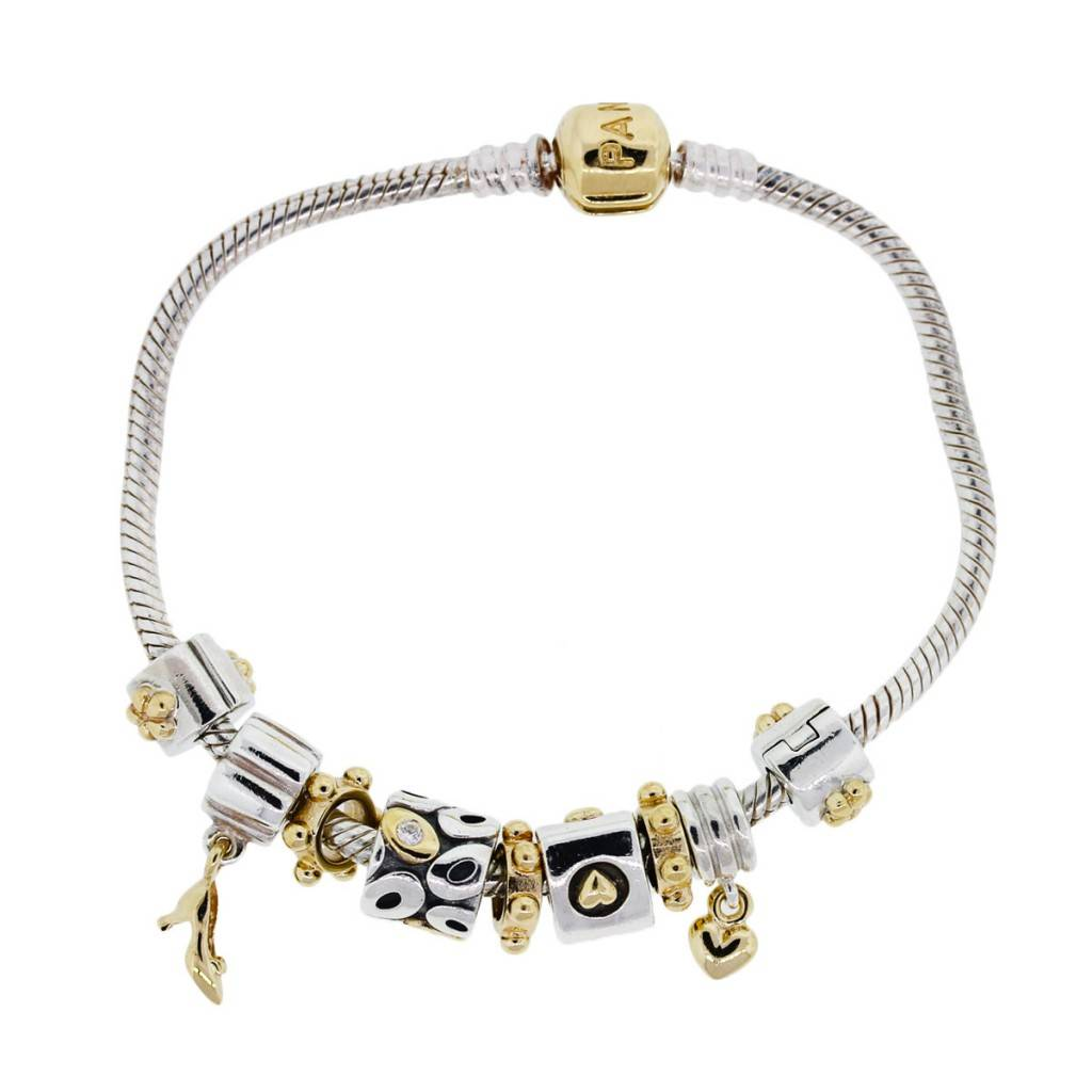 Gold Charm Bracelets: Pandora 14k Yellow Gold And Sterling Silver Charm Bracelet