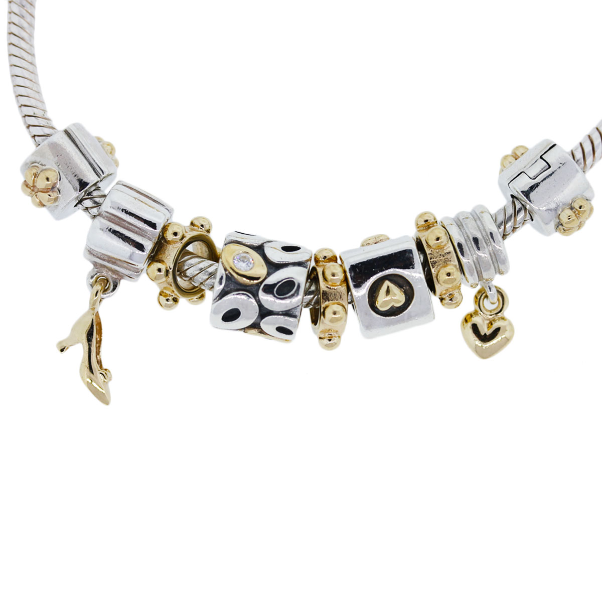 Gold Pandora Jewelry: Pandora 14k Yellow Gold And Sterling Silver Charm Bracelet