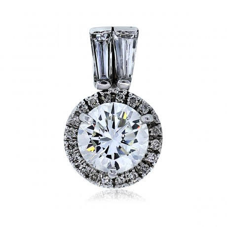 14k White Gold Baguette and Round Diamond Pendant