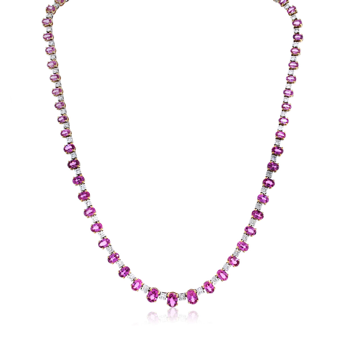 Oval pink Sapphire and Diamond Necklace