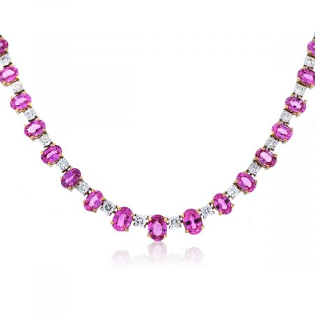 Two Tone Gold Diamond and Pink sapphire Necklace