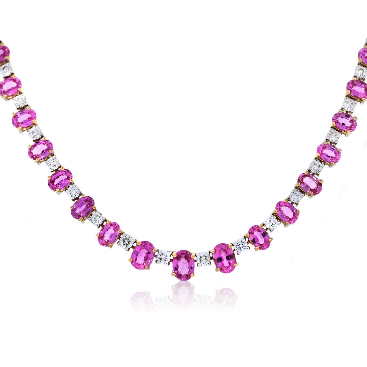 867d3216b7fa0 18k Two Tone Gold Pink Sapphire and Diamond Tennis Necklace-Boca Raton