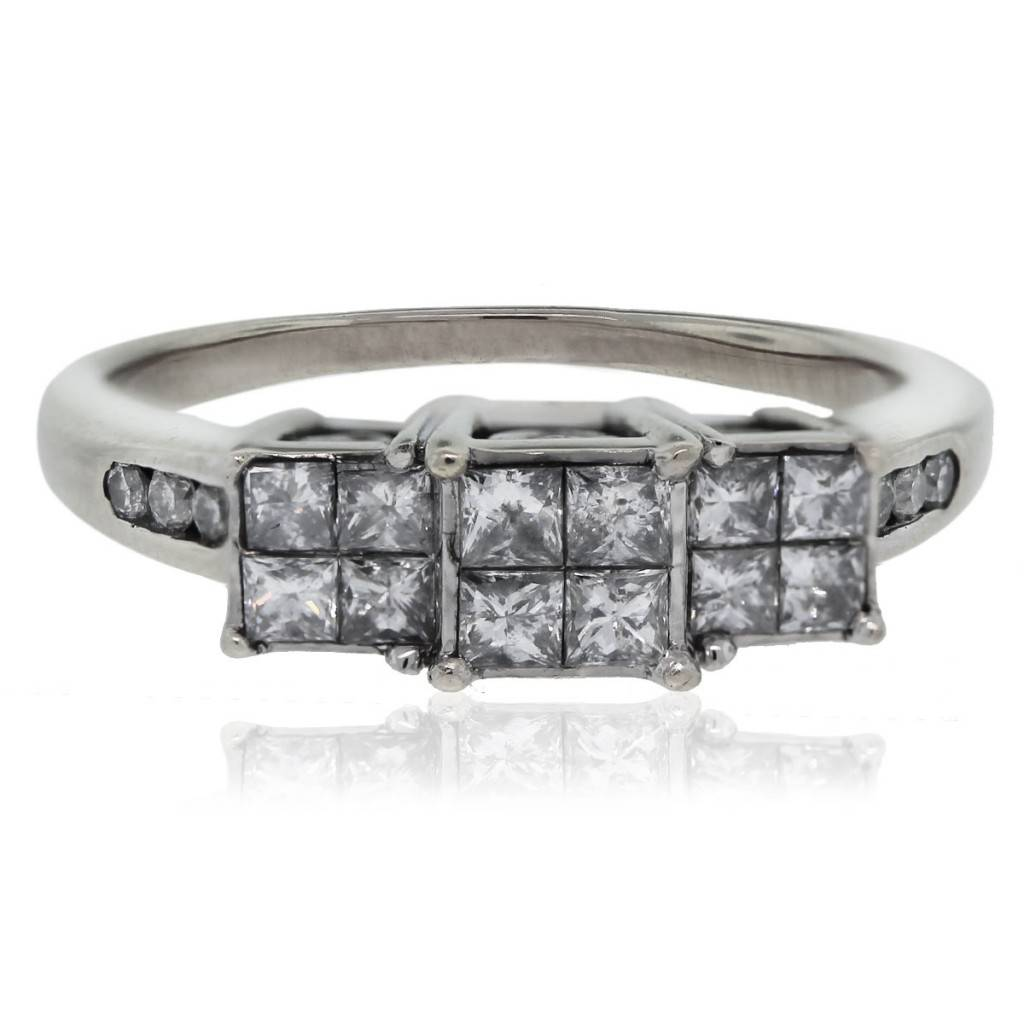 14kt White Gold Princess Cut Diamond/Heart Accent Engagement Ring