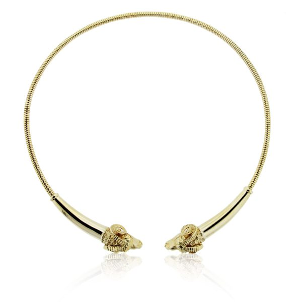 Yellow Gold Ram's Head Necklace