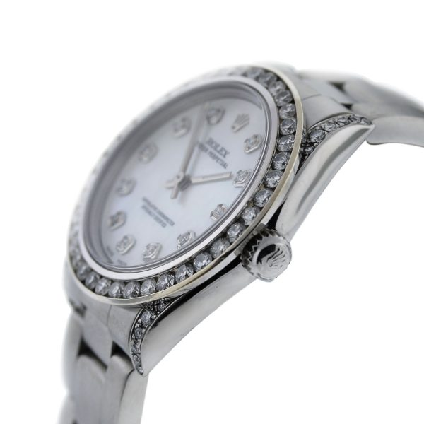 Rolex 77080 Oyster Perpetual Diamond Bezel/Dial Mid Size Ladies SS Watch crown