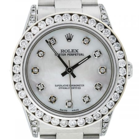 Rolex 77080 Oyster Perpetual Diamond Bezel/Dial Mid Size Ladies SS Watch