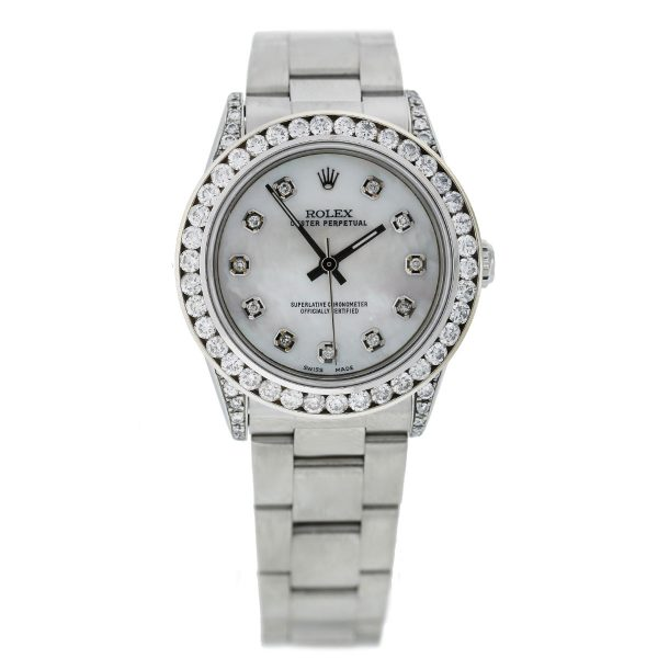 Rolex 77080 Oyster Perpetual Diamond Bezel/Dial Mid Size Ladies SS Watch full