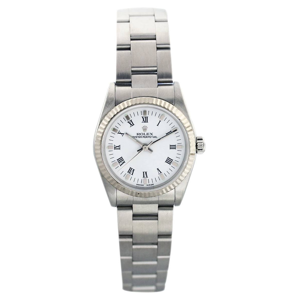 Rolex Midsize 77014 Stainless Steel White Roman Dial Watch