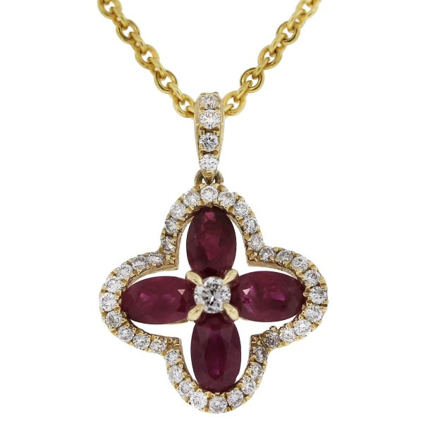 14kt Yellow Gold Ruby & Diamond Flower Pendant w/ Chain