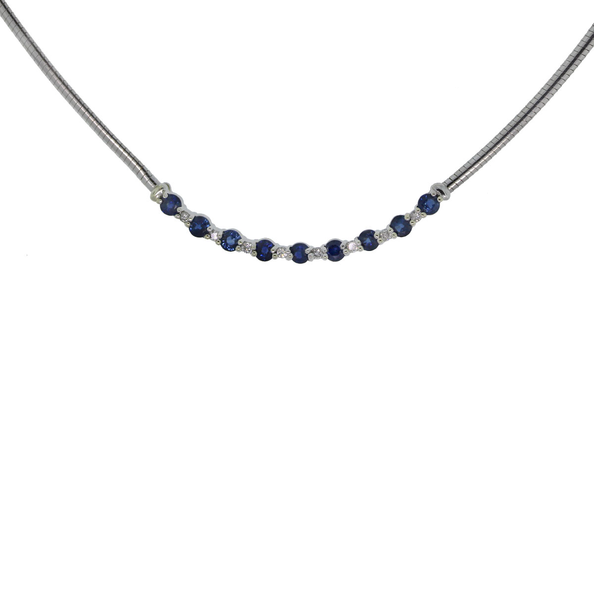 14k White Gold Diamond & Sapphire Necklace