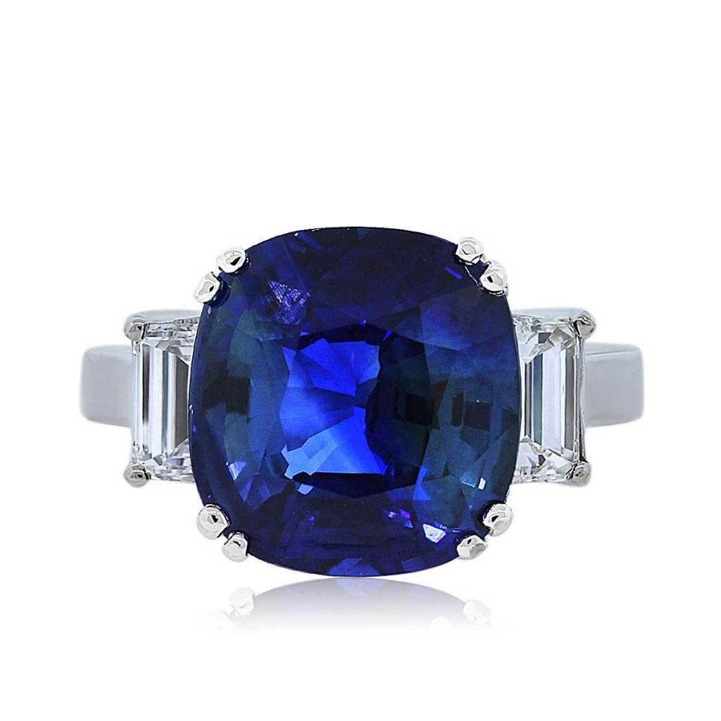14k white gold sapphire and emerald cut diamond cocktail ring. Black Bedroom Furniture Sets. Home Design Ideas